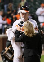 Matt Wieters gets a pie in the face