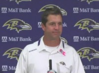 frustrated Ravens coach John Harbaugh